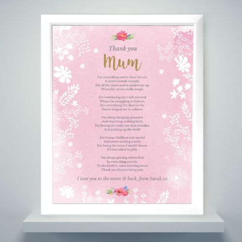 Personalised Pink Framed Print Gift to say Thank You to Special Mum, Sister, Grandma Auntie